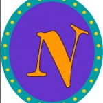 letter N oval purple